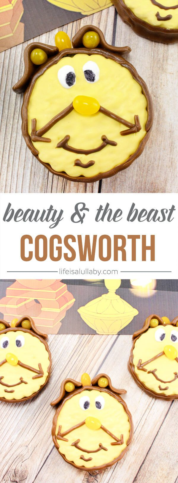 Learn how to make these adorable Beauty and the Beast Cogsworth dessert treats! These are great for a kids birthday party!
