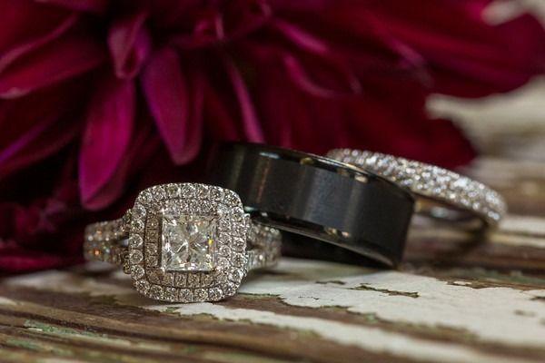 Bague de fiançailles 2017  Idée d'anneau de fiançailles glamour  anneau de fiançailles à coupe princesse avec double halo settin