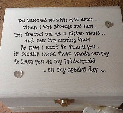 Shabby Personalised chic Bridesmaid Sister To Be Sister In Law Wedding Gift Box