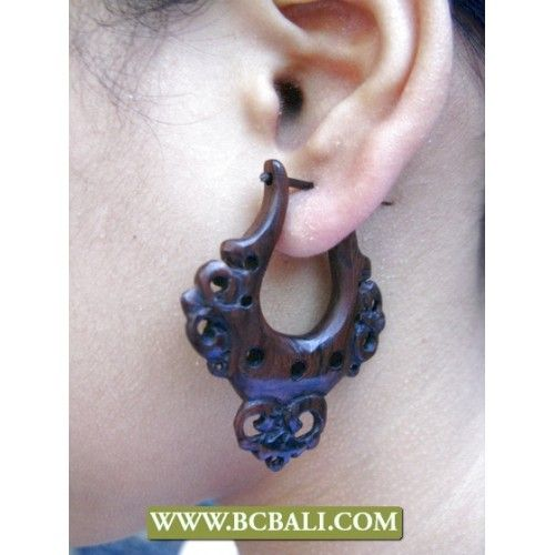 Wooden Hook Earrings Natural Bali - shop online from bali, wholesaler jewellery wooden earrings made in bali indonesia, indonesia manufacture wooden jewellery fashion from bali