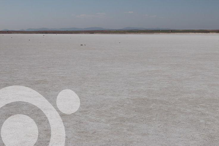 Salt encrusted lake