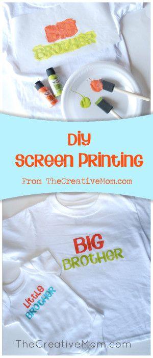 DIY Screen printing {Big Brother and Sister Shirts} by thecreativemom #DIY #Tees #Big_Brother