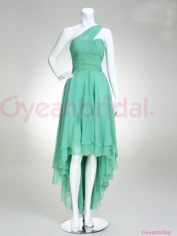 Simple One Shoulder Ruched Empire High Low Ruffles Green Chiffon Cheap Prom Dresses Under 150