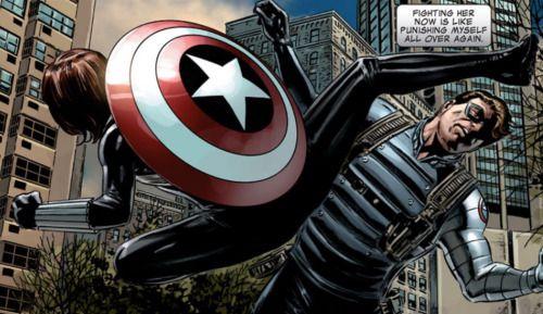 Black Widow vs The Winter Soldier in Captain America #27