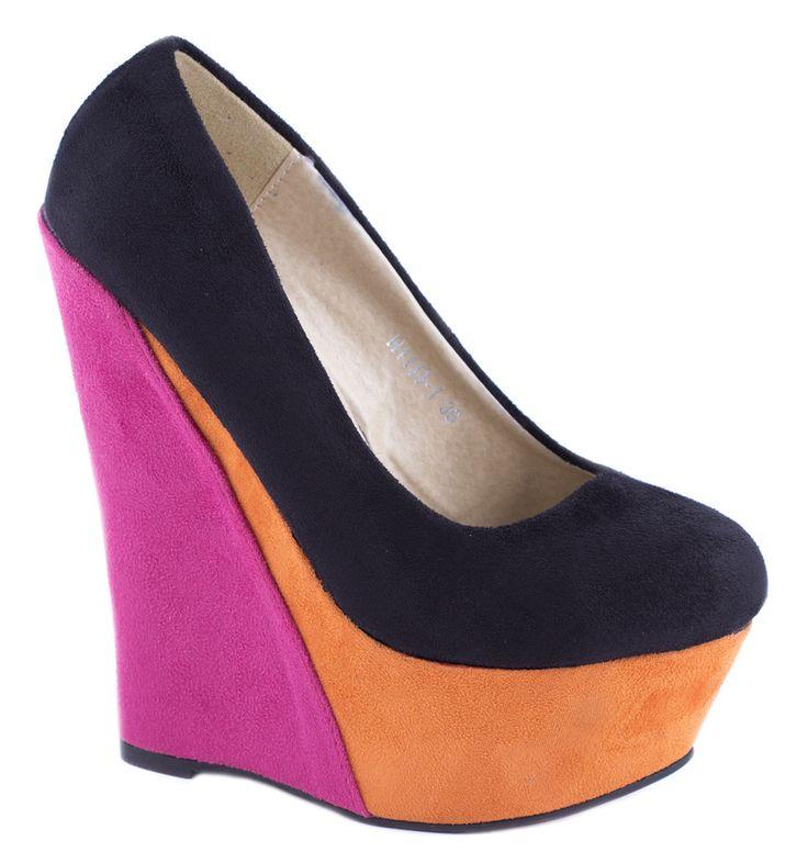 Pantofi cu platforma - Pantofi negri cu platforma H1133-1N - Zibra