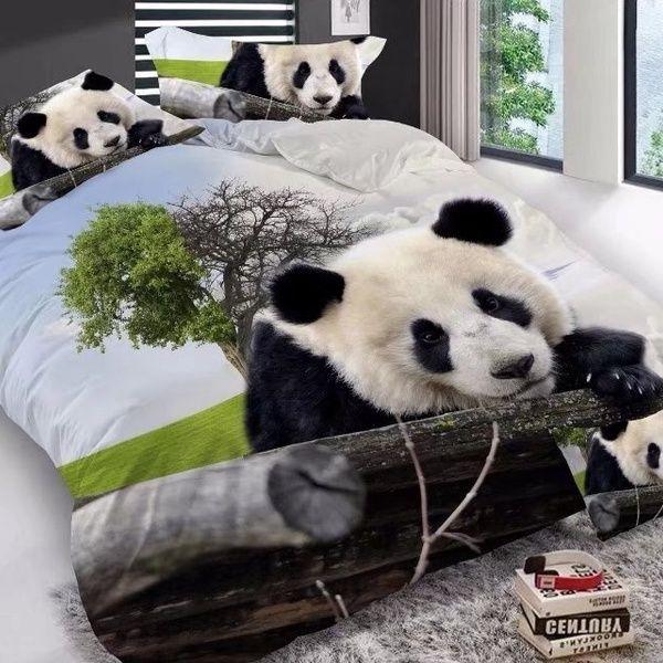 3D Animals Panda 3//4Pcs Print Bedding Set Duvet Cover Sheet Bedroom Pillow Case