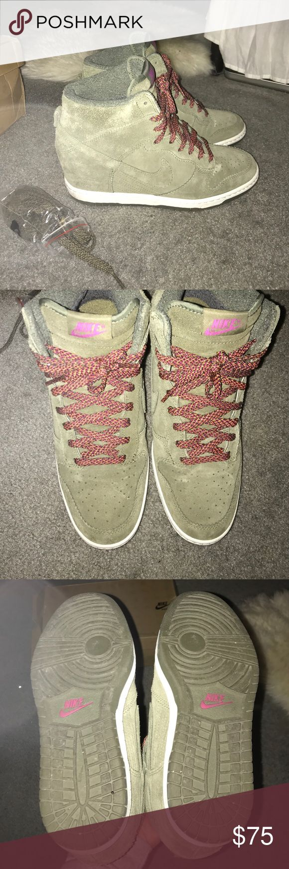 Nike Dunk Sky Hi Olive Suede Wedge Nike sneaker. Comes with extra set of laces in olive. Sneakers in very good condition. Nike Shoes Athletic Shoes