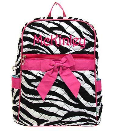 Personalized Backpack Zebra Hot Pink Bookbag