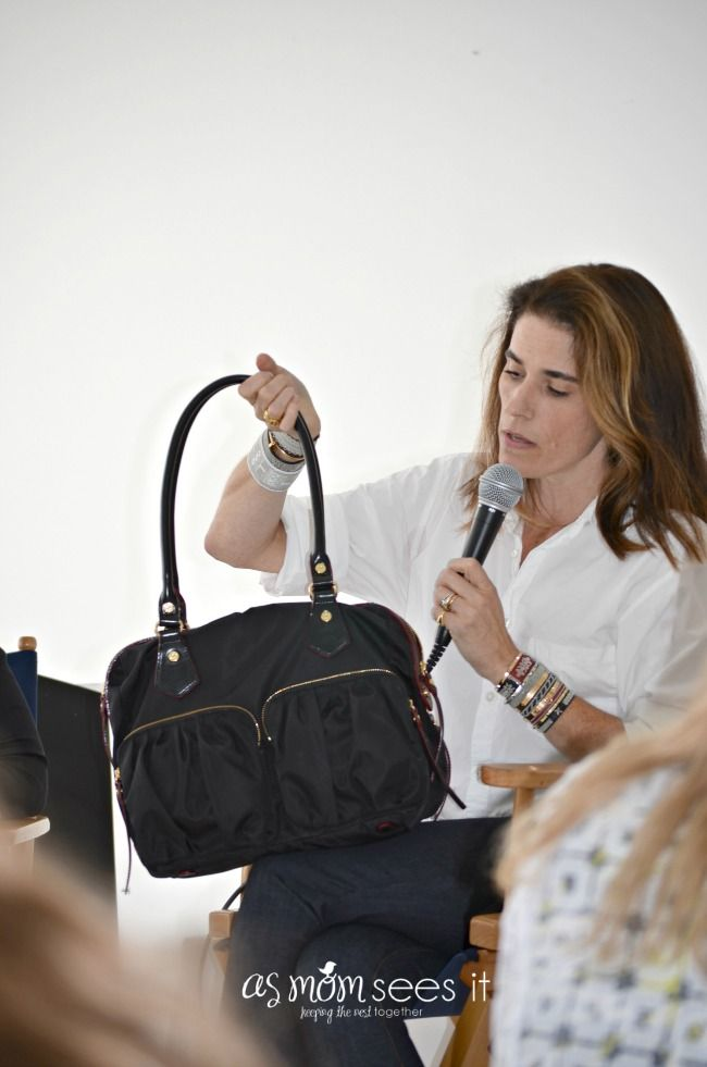 Lucy, a designer for @MZWallace handbags holding my new Jane bag! I love this bag. LOVE #BBNYC #SweetSuite14