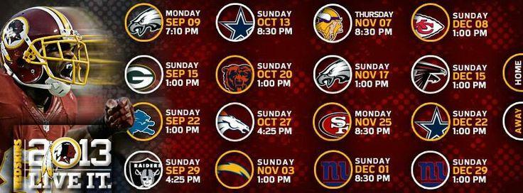 2013 Redskins schedule