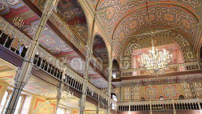 Coral Temple interior architecture - jewish community synagogue in Bucharest, Romania.