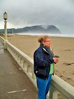 Author Janet Chester Bly hard at work doing research at Tillamook Head for her husband's last novel, Stuart Brannon's Final Shot.