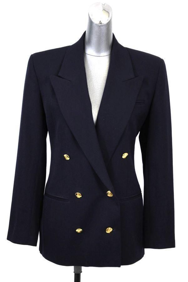 Womens Navy Blue Austin Reed Double Breasted Blazer Jacket Gold Buttons Wool M 8 Fashion Clothing Shoes Accesso Blazer Jacket Blazer Double Breasted Blazer