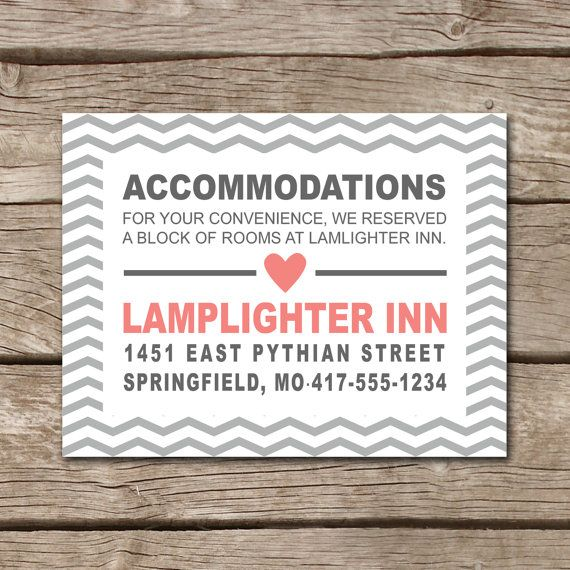 Accommodation Cards For Wedding Invitations: Chevron Wedding Accommodation Card // Jpg Pdf By