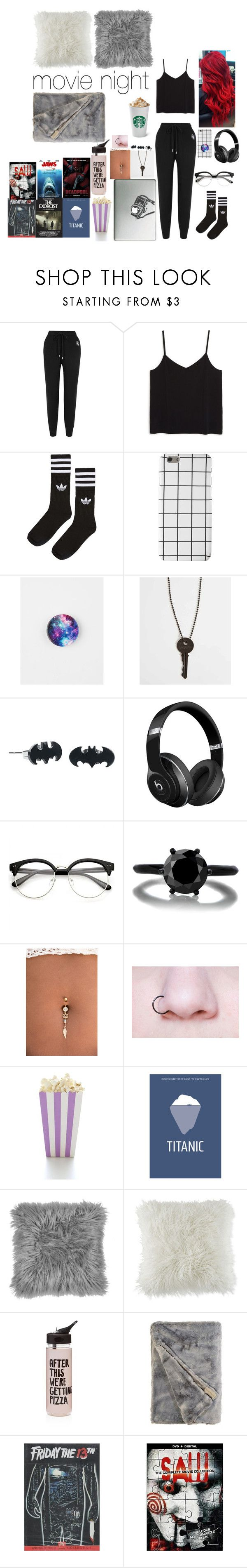 """Movie night"" by carry-senpai ❤ liked on Polyvore featuring Markus Lupfer, Monki, adidas, PopSockets, The Giving Keys, Beats by Dr. Dre, Marvel, BCBGeneration and ban.do"