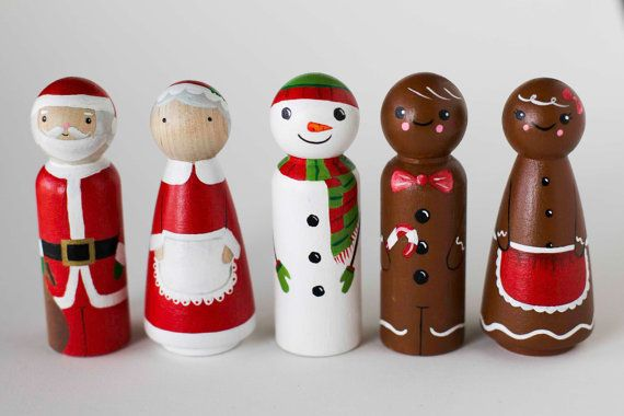 HO HO HO!!! Merry Christmas, peg lovers!  This listing is for a set of Christmas themed peg dolls. Dolls are 3.5 high, hand painted with acrylic