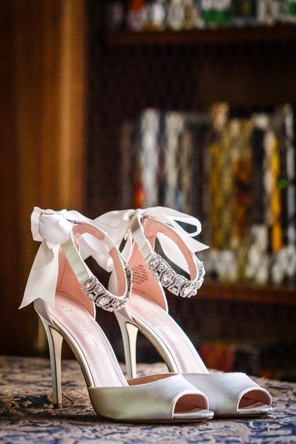 Jeweled + ribbon tied wedding shoes: http://www.stylemepretty.com/illinois-weddings/lake-forest/2016/01/13/classic-elegant-armour-house-wedding/ | Photography: Ann & Kam - http://www.annkam.com/