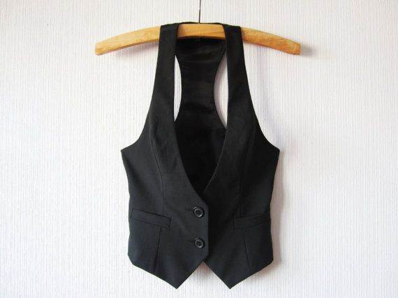 Womens Black Vest Steampunk Edwardian Victorian Formal Fitted Waistcoat Small