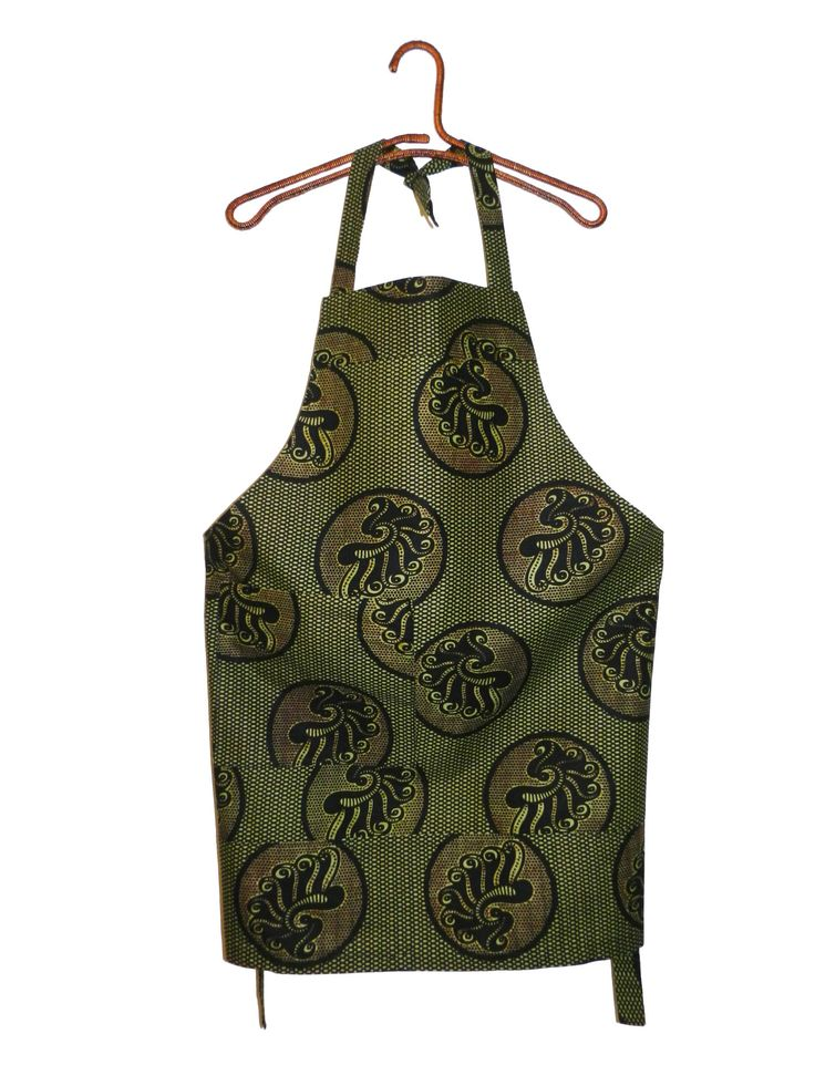 Beautiful aprons available in a variety of African wax prints. Features adjustable neck straps and a large pocket. Machine washable and durable.  Material:  100% Cotton Care Instructions:  Machine Washable.  DIMENSIONS: Length (from top to hem): 73cm Apron Width (at waist): 62cm Waist Tie Length (each side): 52cm Only $15 each