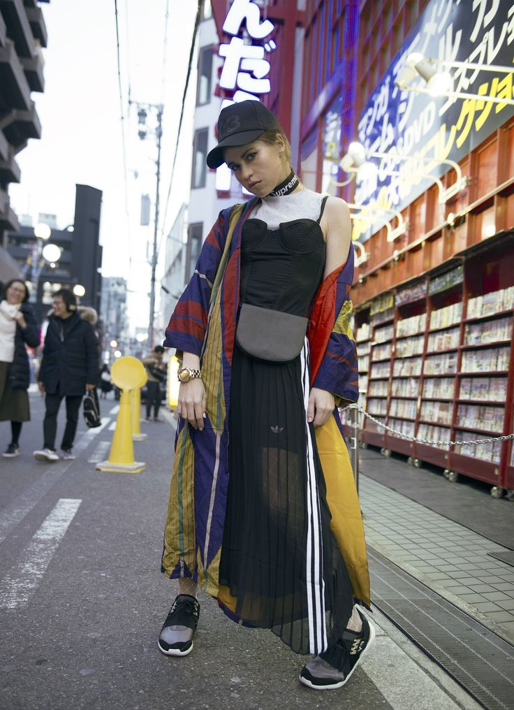 Kimono combined with Y-3 sneakers and cap, adidas dress