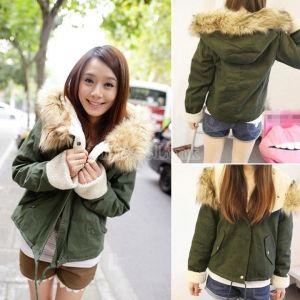 Women Fashion Winter Hot Casual Army Green Outerwear Fur Hooded Long Sleeve Drawstring Coat