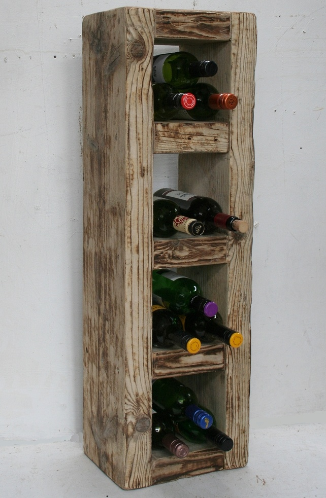 Reclaimed Solid Wood Wine Rack 16 Bots Rustic Contemporary