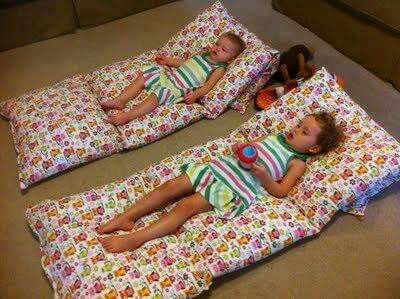 Such a great idea!  Sew four pillowcases together for a floor mat.  Slip off of pillows to wash.