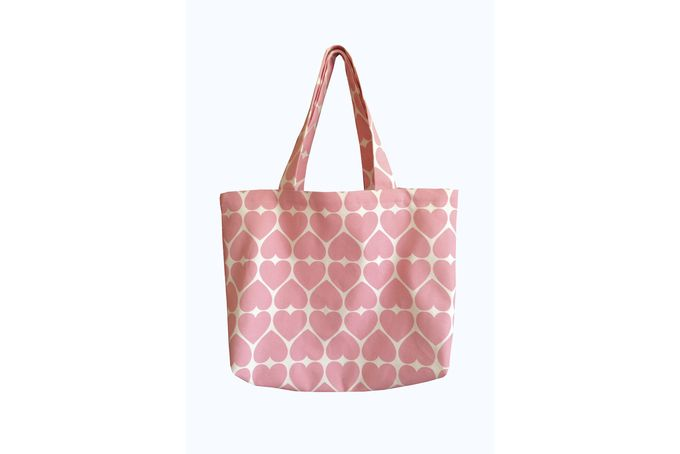 Peach heart print tote bag by Tesi