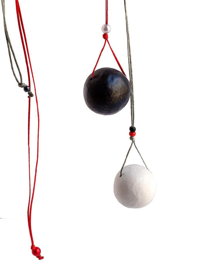 """Black-white sphere clay pendant"" Anna Spathari"