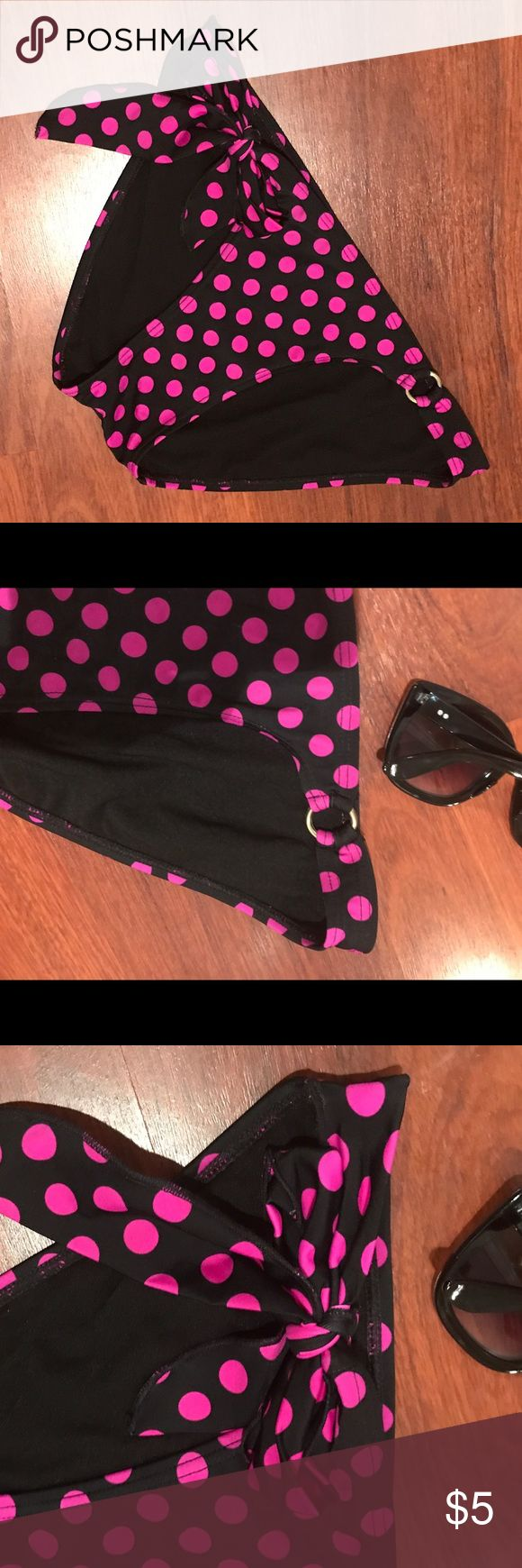 LIKE NEW! Bundle me! Black w/ pink polka dots. Size Med. bottoms only. Super cute & only Worn once! Low cut. One side ties to make it adjustable. Gold ring on other side. Swim Bikinis