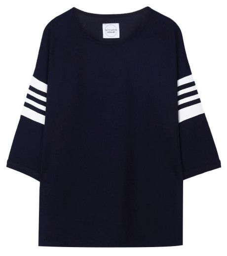 Outstanding Ordinary Relaxed Navy Top with Striped Sleeves - Trouva