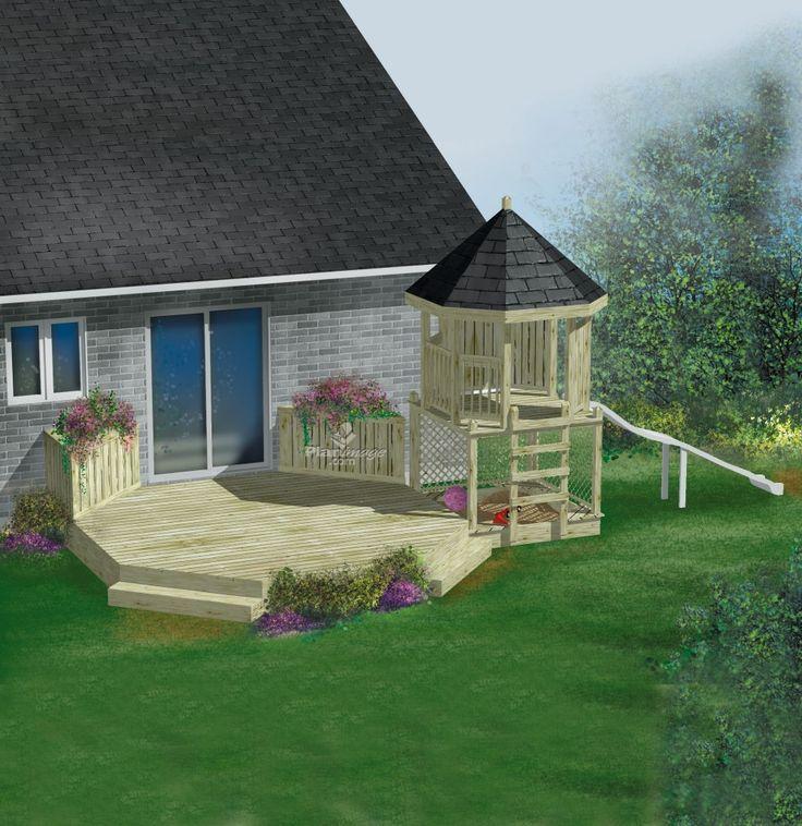 une terrasse en bois qui ne passera pas inaperçue! Ancrée au mur de