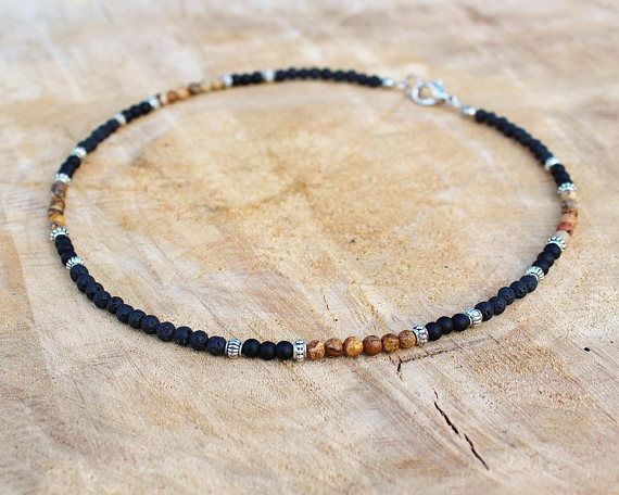 Mens Necklace, Black lava, Brown picture jasper, Matte black onyx, 4mm Beaded Mens Stone Necklace, Jewelry for Men Roman Empire ages style FROM NOW our best-selling necklace is in 4 mm! Welcome! This necklace in 6 mm is here >>>