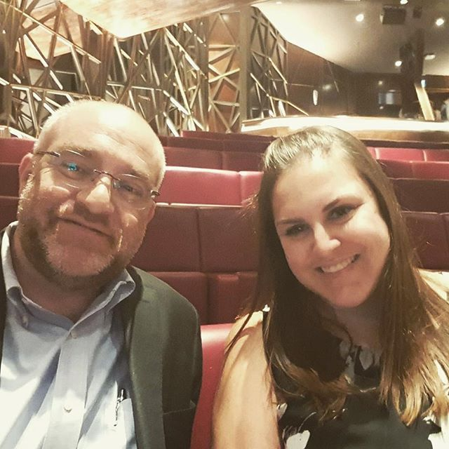 At tonights show! Our founder Claire Blumenthal and friend at #evita #dubaiopera