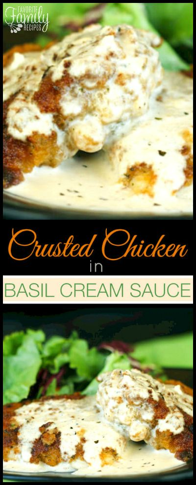 I made this Chicken in Basil Cream Sauce for my parents once and my Dad said this was the best chicken he had ever had! It is so good! via @favfamilyrecipz