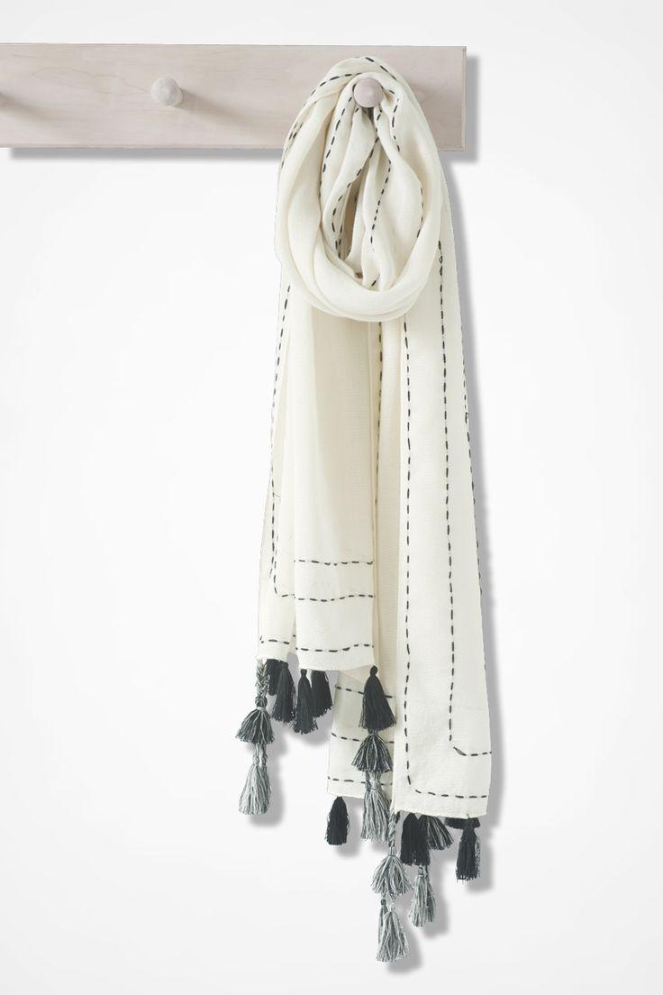 Versatile Tasseled Scarf in Ivory