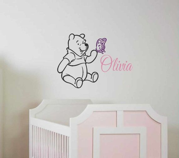 Wall Decal - Winnie the Pooh butterfly name - Personalized girls Wall Decal - Nursury Wall Decals - Disney - wall vinyls decals art