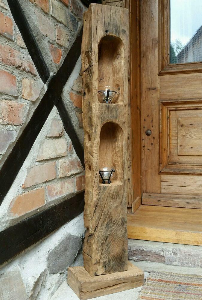 Altholz Eichenholz Teelicht Laterne Windlicht   Skulptur Stele Holzsäule Balken in Möbel & Wohnen, Dekoration, Kerzenständer & Teelichthalter | eBay! – Regina Müller