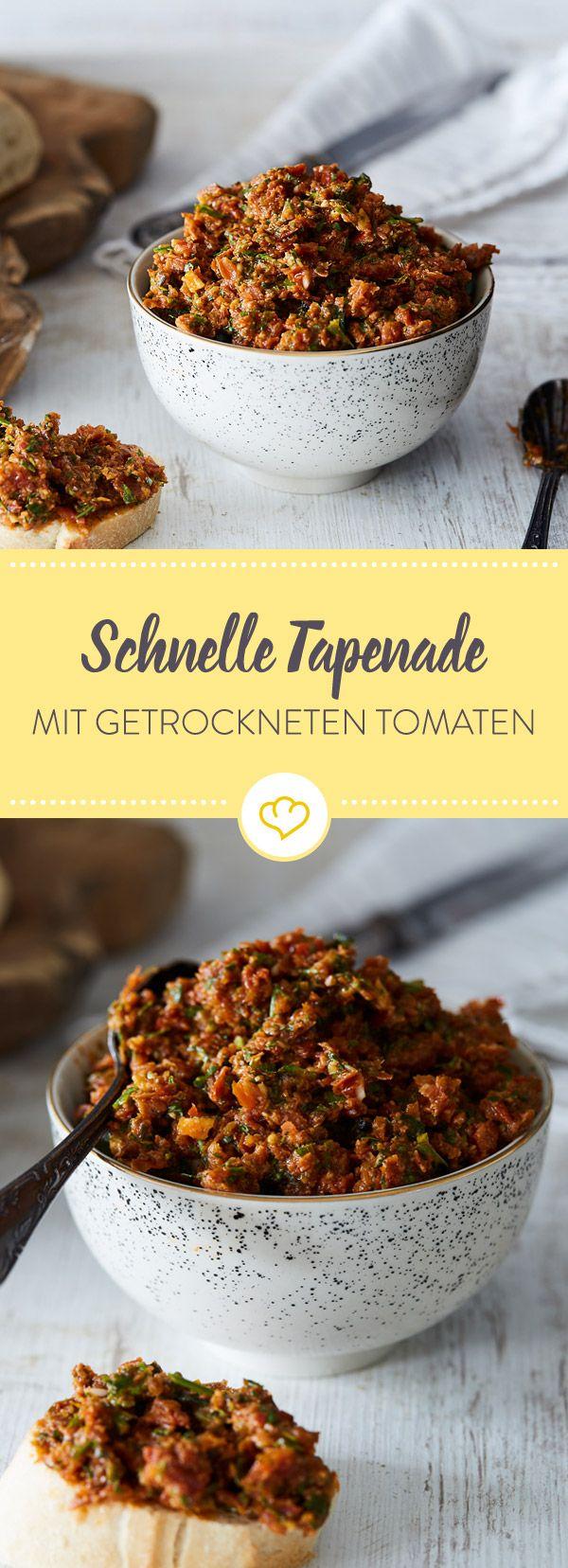 Diese Tapenade wird mit getrockneten Tomaten, Parmesan und Knoblauch vom französischen Klassiker zum italienischen