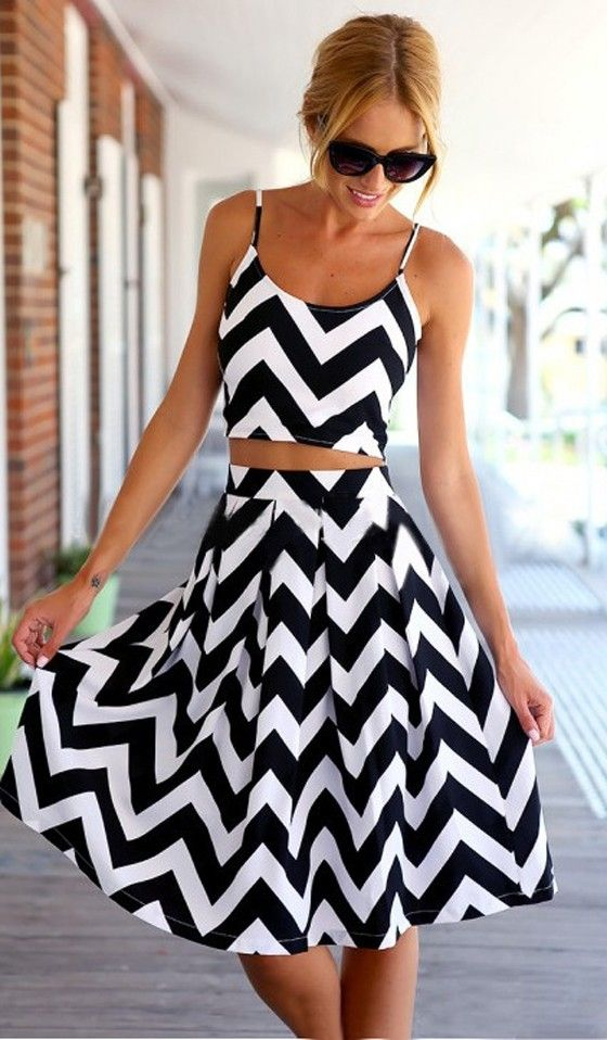 Black-White Wave Striped 2-in-1 Dress