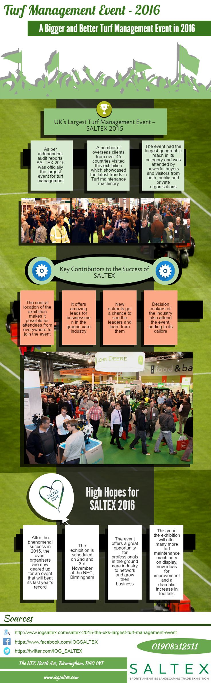 A Bigger and Better Turf Management Event in 2016 - As per independent audit reports, SALTEX 2015 was officially the largest #event for turf management. A number of overseas clients from over 45 countries visited this exhibition which showcased the latest trends in #Turf #maintenance #machinery. After the phenomenal success in 2015, the event organisers are now geared up for an event that will beat its last year's record. The exhibition is scheduled on 2nd and 3rd November at the NEC…