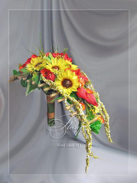 Цветы из конфет - Брошь букет невесты Sflory