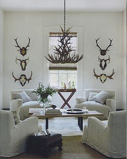 antlers: Idea, Living Rooms, Livingrooms, Dreams Home, Antlers, White Rooms, Sit Rooms, Men Caves, White Wall