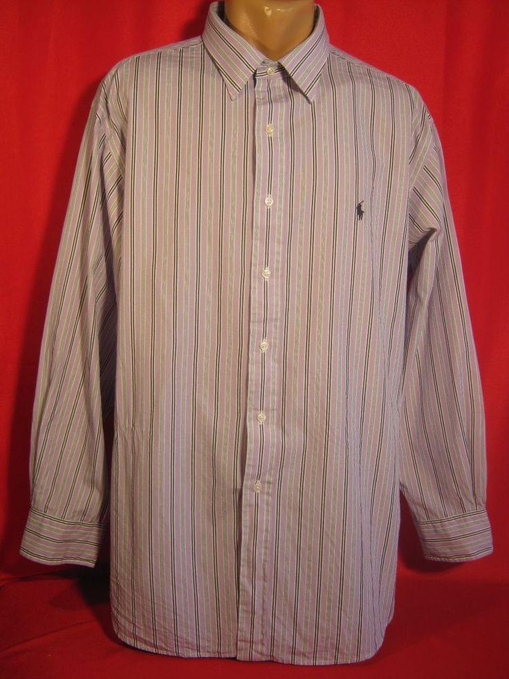 Authentic Ralph Lauren Mens Shirt  18(34/35) Purple Striped #RalphLauren #Shirt