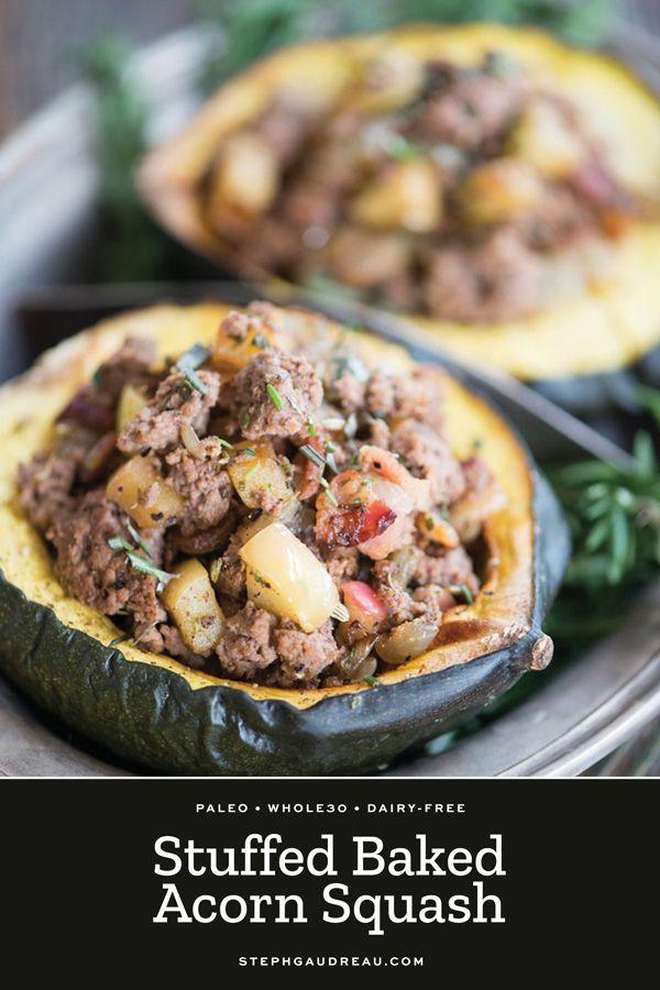 Paleo Stuffed Acorn Squash Gluten Free Whole30 Recipe With
