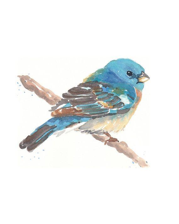 Bird Watercolor Painting  Mountain Bluebird