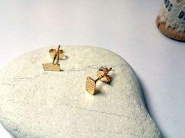 Retour de plage - Boucles d'oreilles rectangle motif oursins