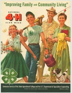 Vintage 4-H Poster - Improving Family and Community Living Feb. 28-March 7 (1959)..