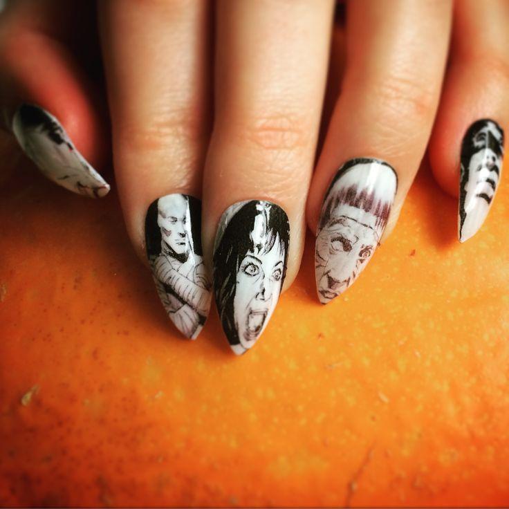 Halloween transfer nails