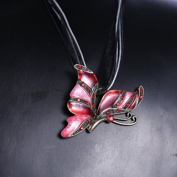 Chunky Retro Pink Butterfly In Flight Rhinestone Steampunk Inspired Pendant on Black Leather and Lace Chord Necklace - pinned by pin4etsy.com